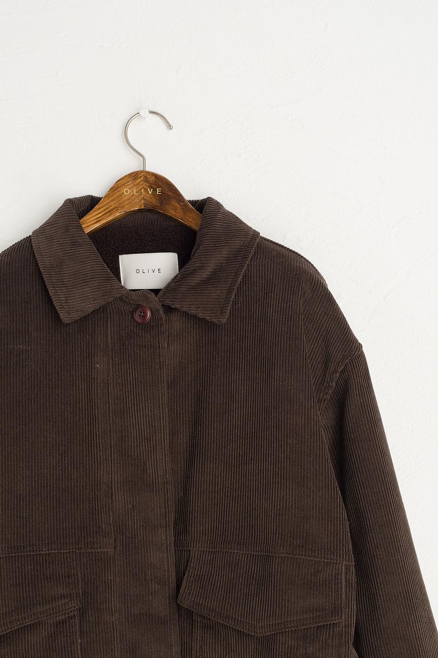 Corduroy Faux Shearing Jacket, Brown