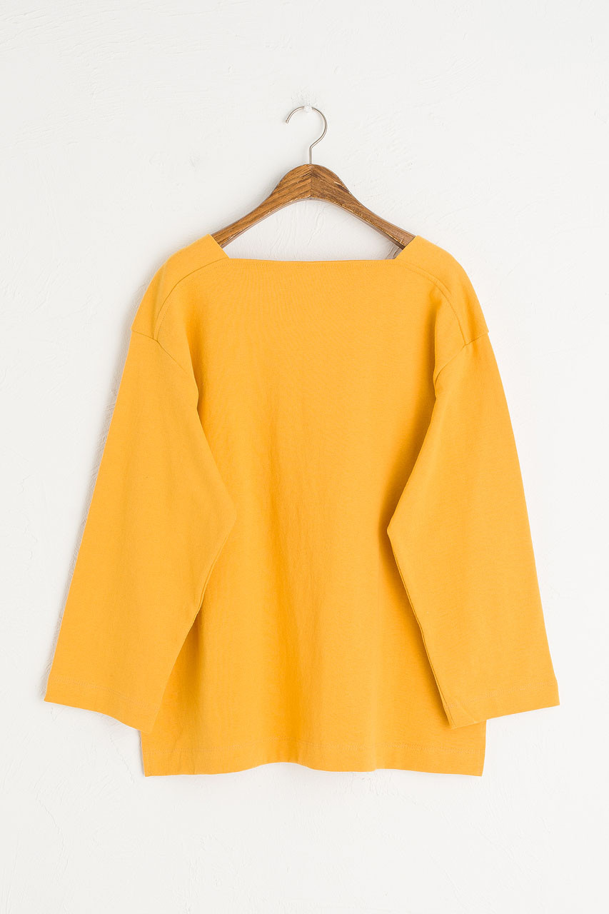 Square Neck Cotton Tee, Mustard