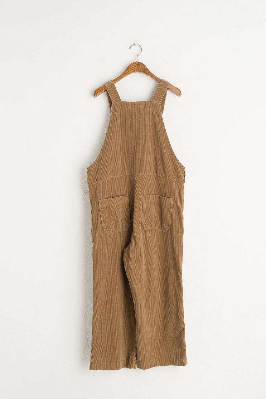 Mid Length Corduroy Dungaree Trousers, Beige