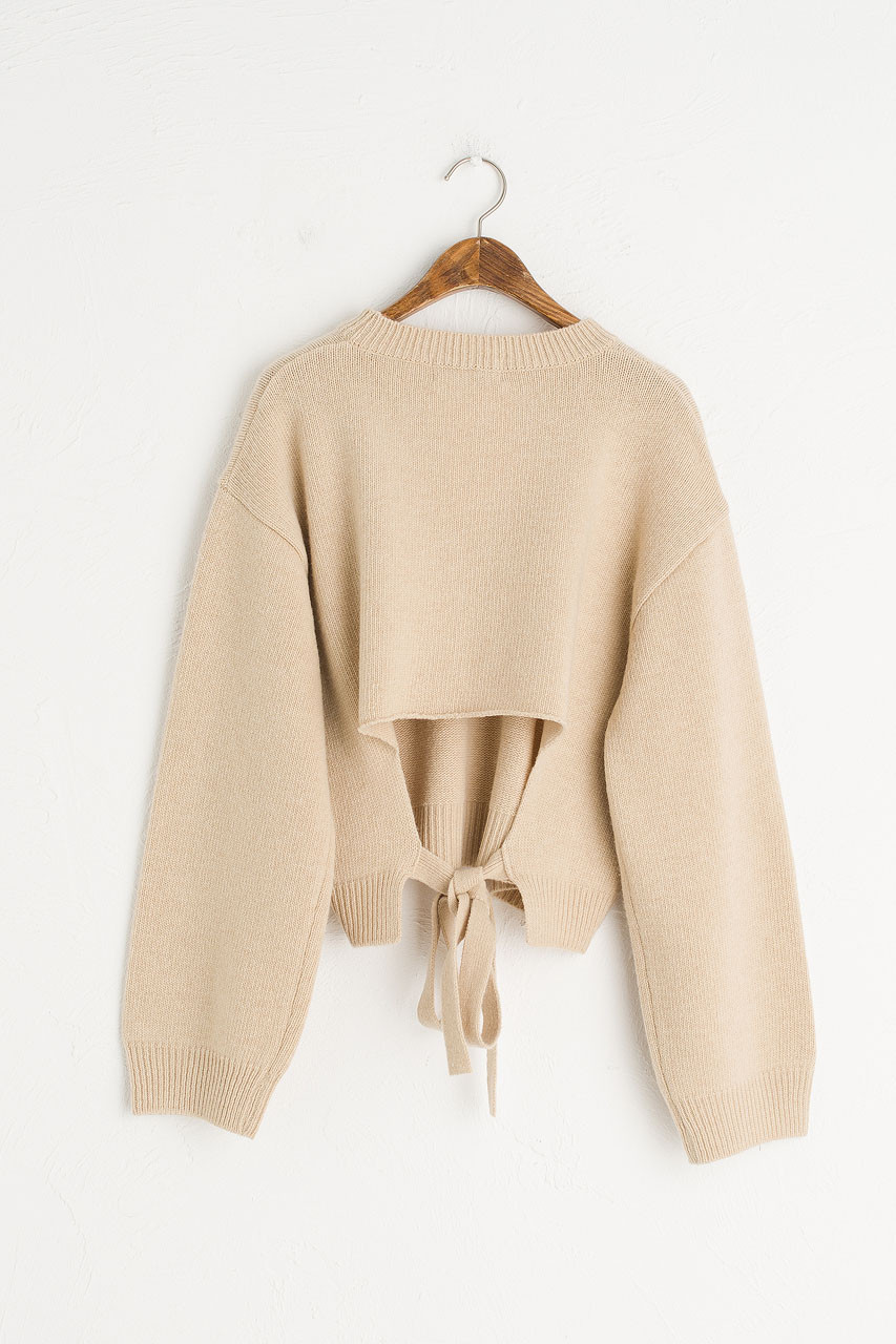 Open Back Cropped Jumper, Beige
