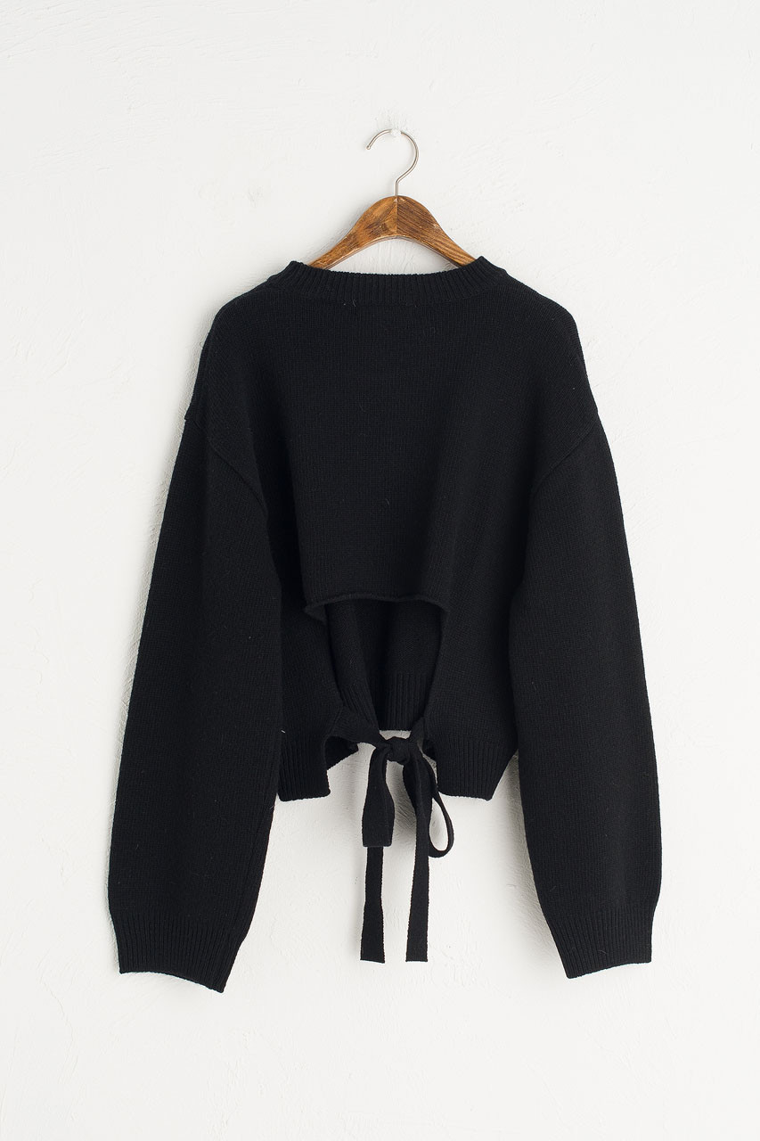 Open Back Cropped Jumper, Black