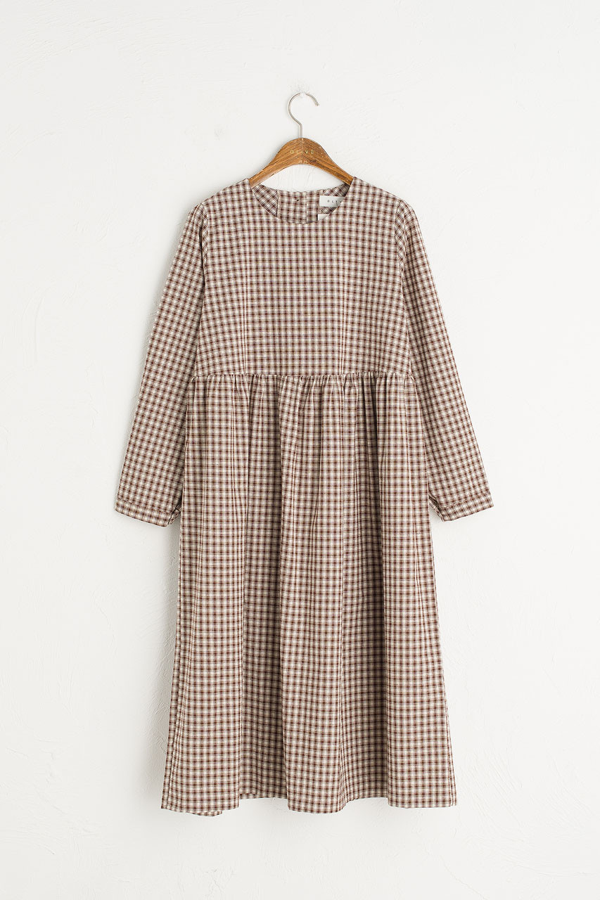 Button Check Babydoll Dress, Brown
