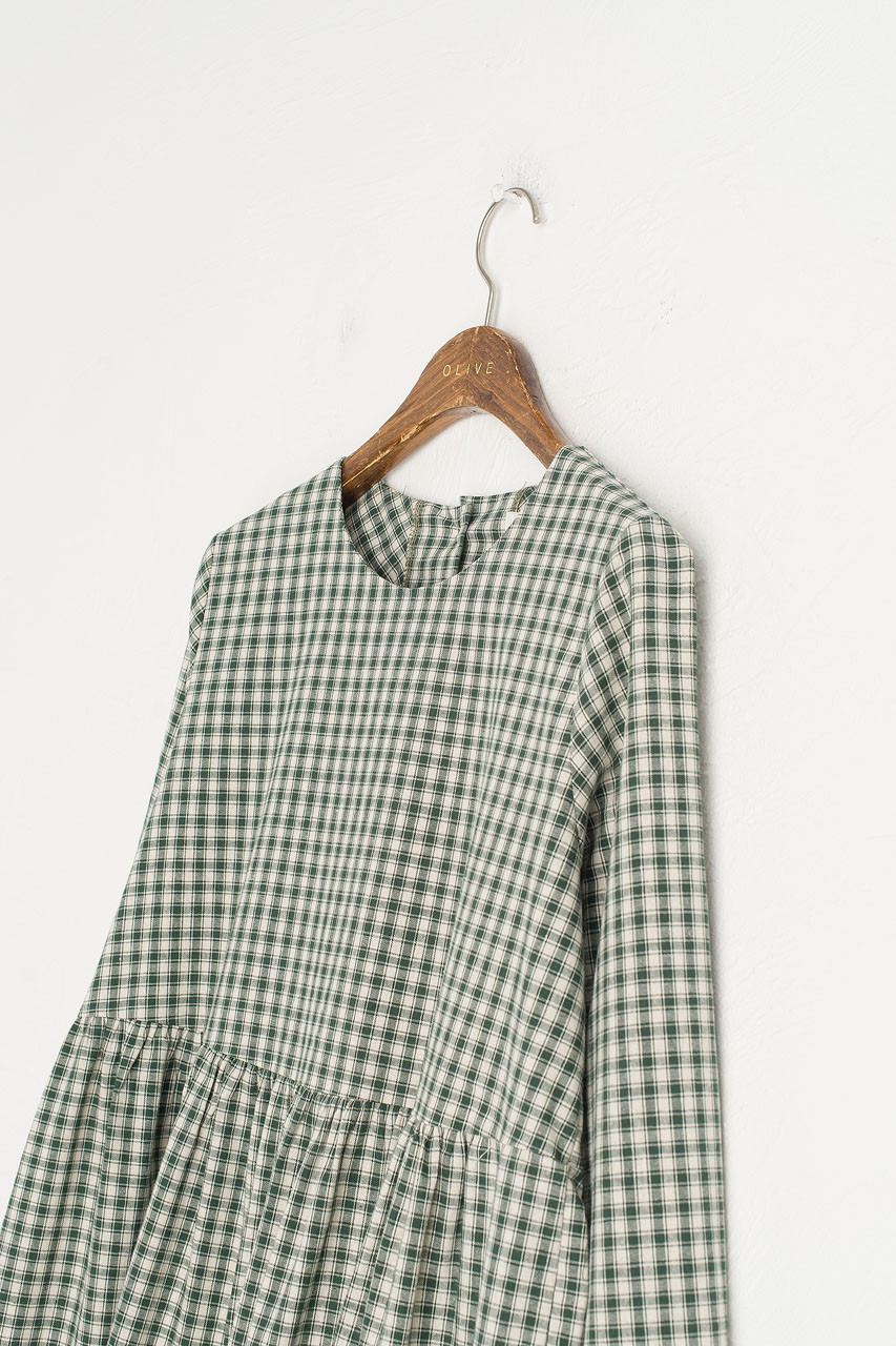 Button Check Babydoll Dress, Green
