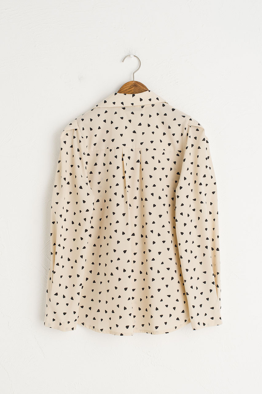 V Neck Heart Print Blouse, Ivory