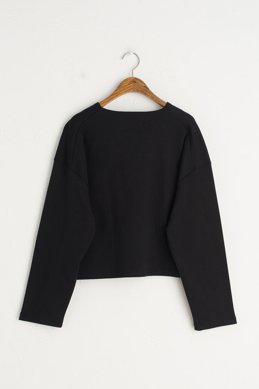 Cropped Cotton Tee, Black