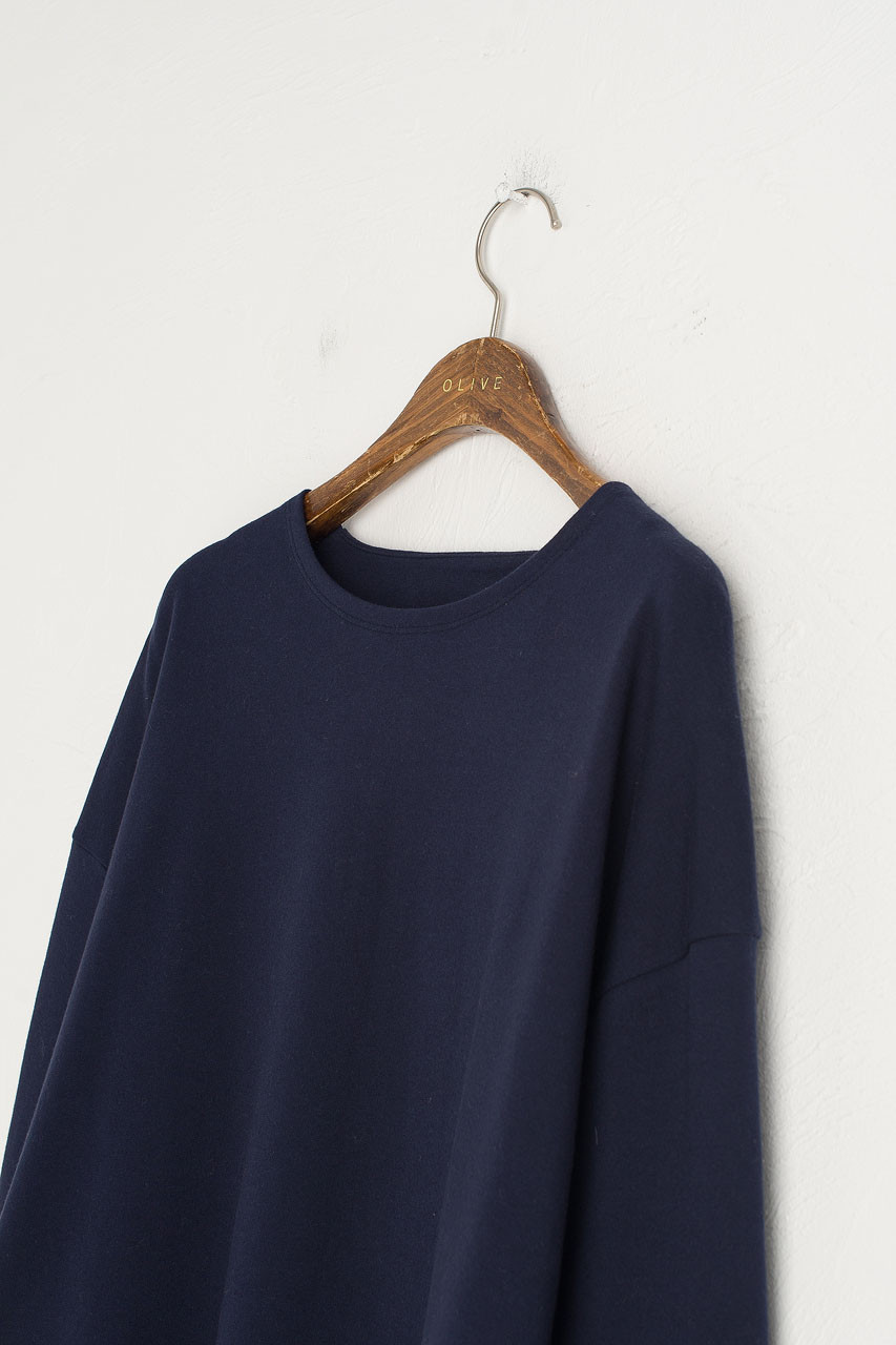 Cropped Cotton Tee, Navy