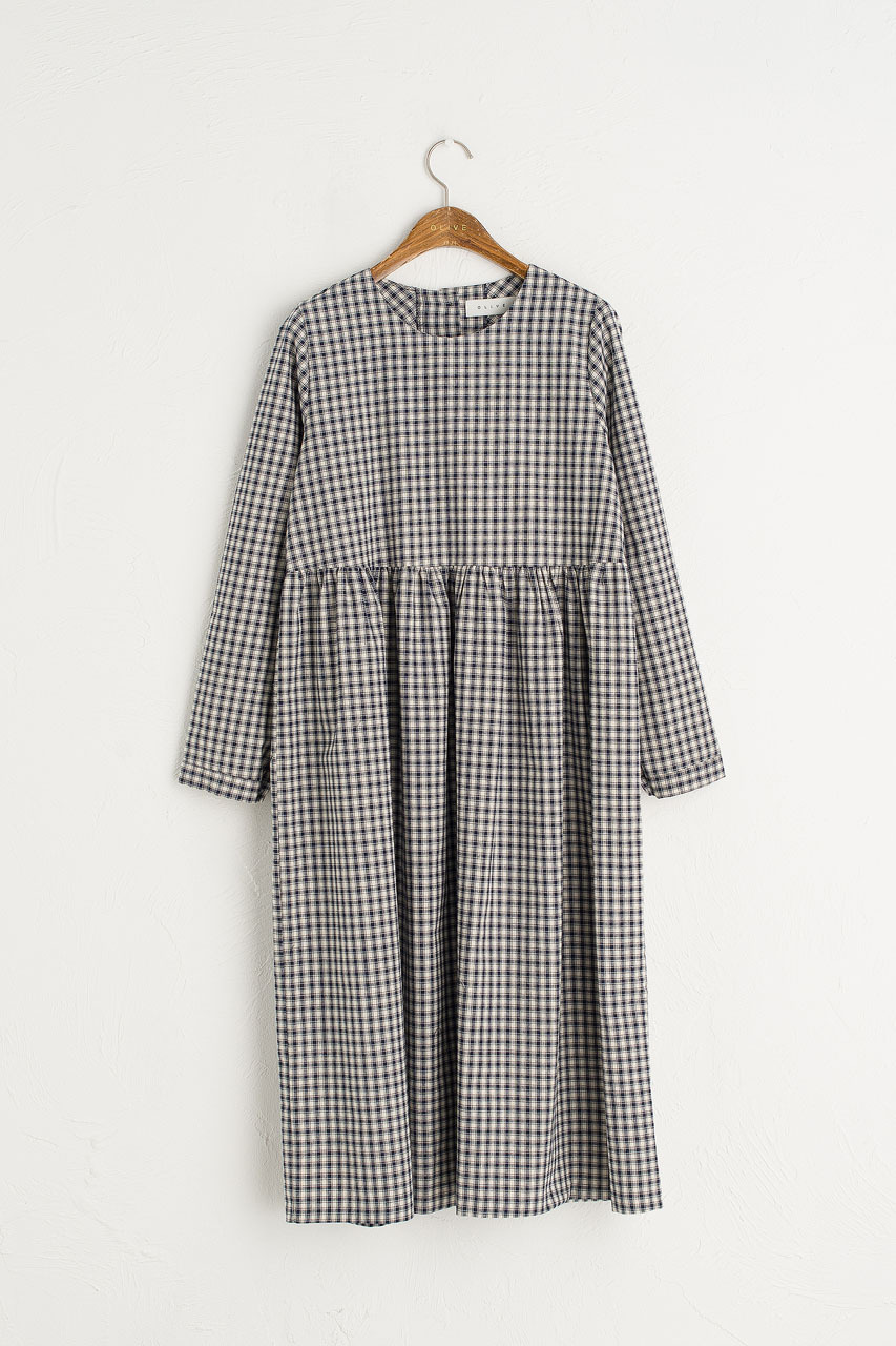 Button Check Babydoll Dress, Navy