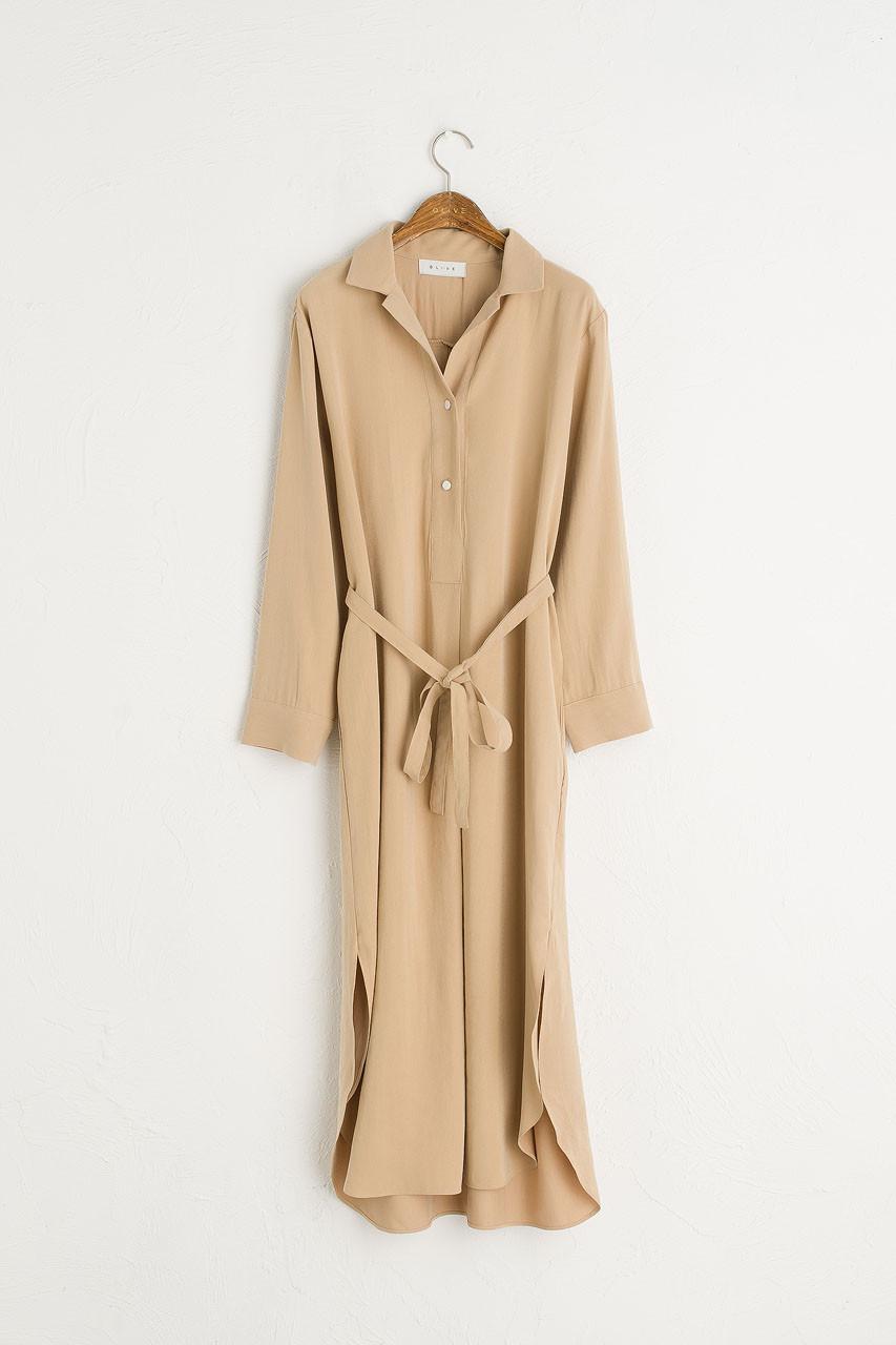 Shirt Style Long Dress, Sand