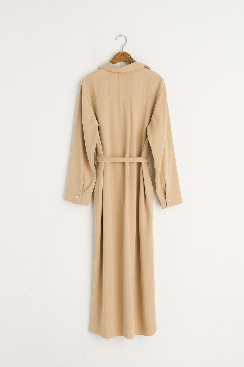 Shirt Style Long Dress, Sand