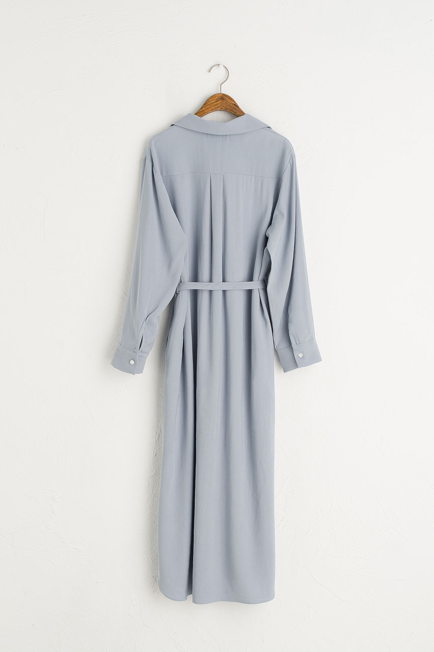 Shirt Style Long Dress, Sky Blue