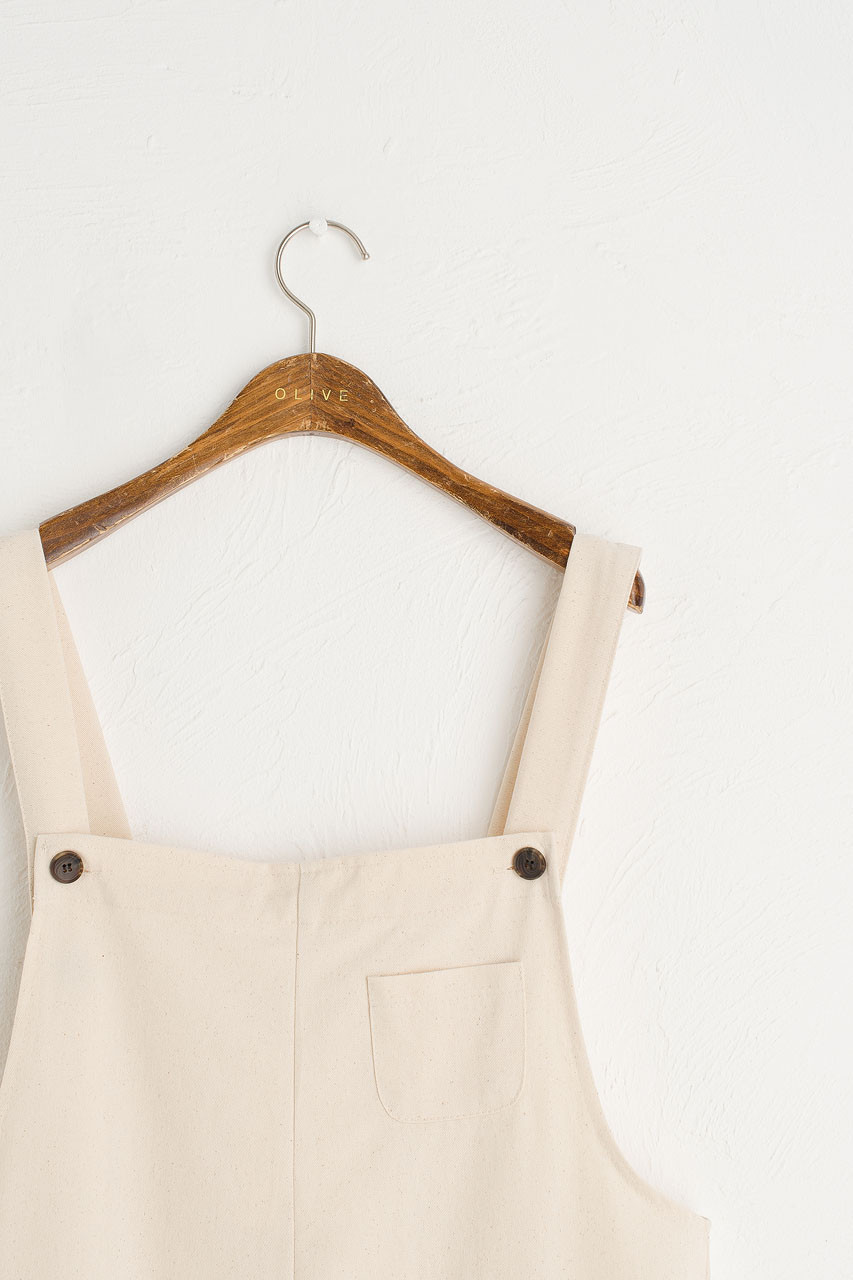 Pocket Point Cotton Dungarees, Ivory