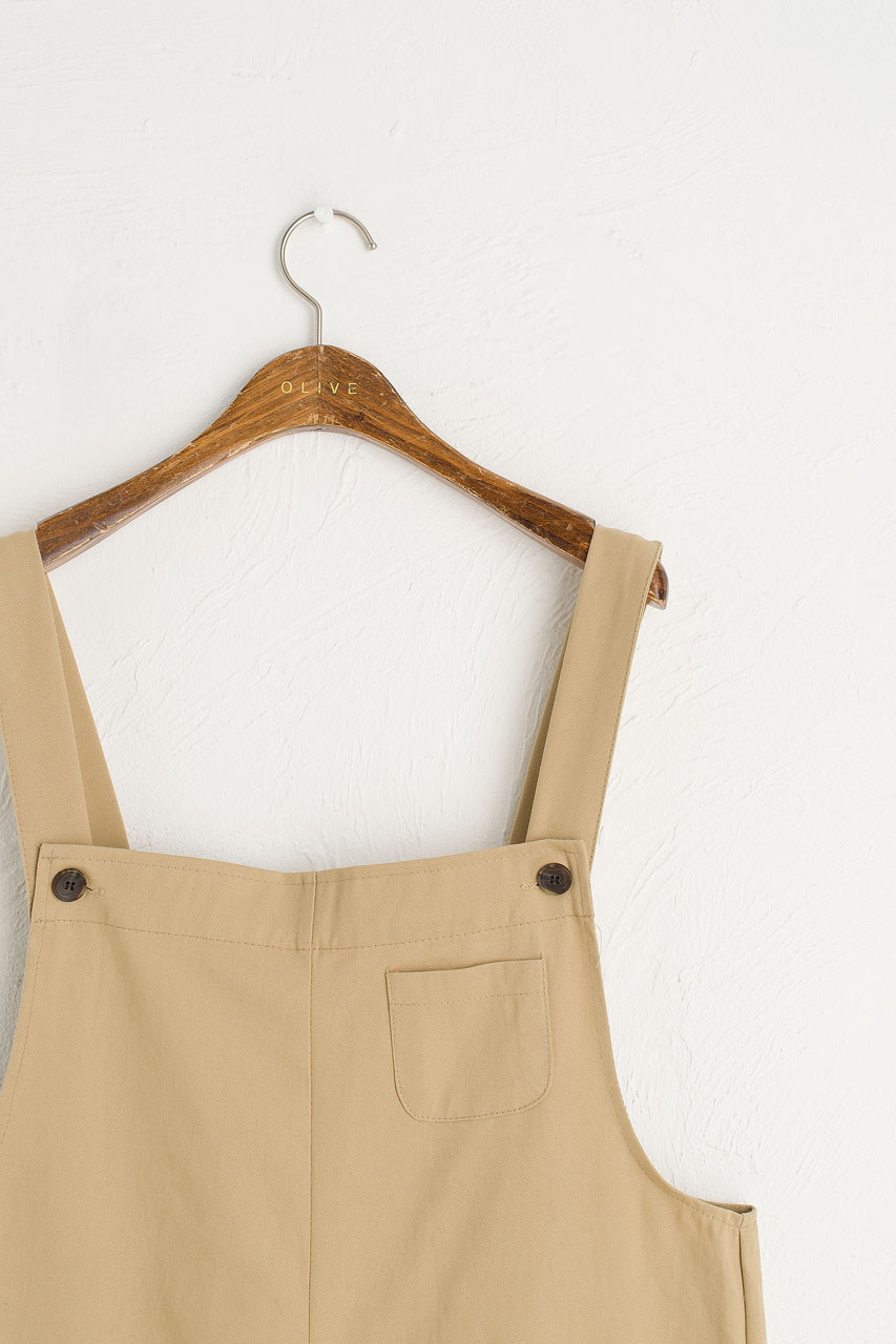 Pocket Point Cotton Dungarees, Beige