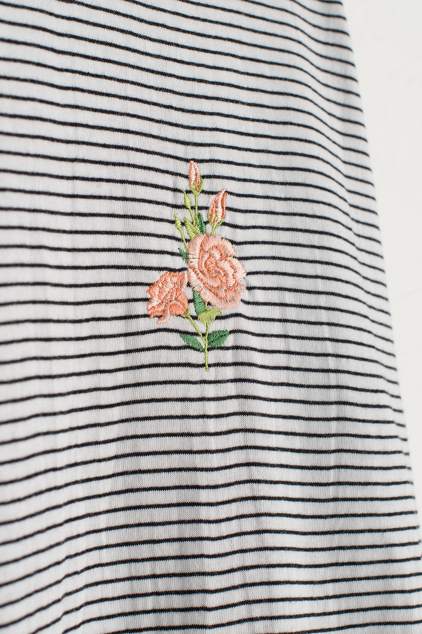 Rose Embroidery Stripe Tee, Ivory