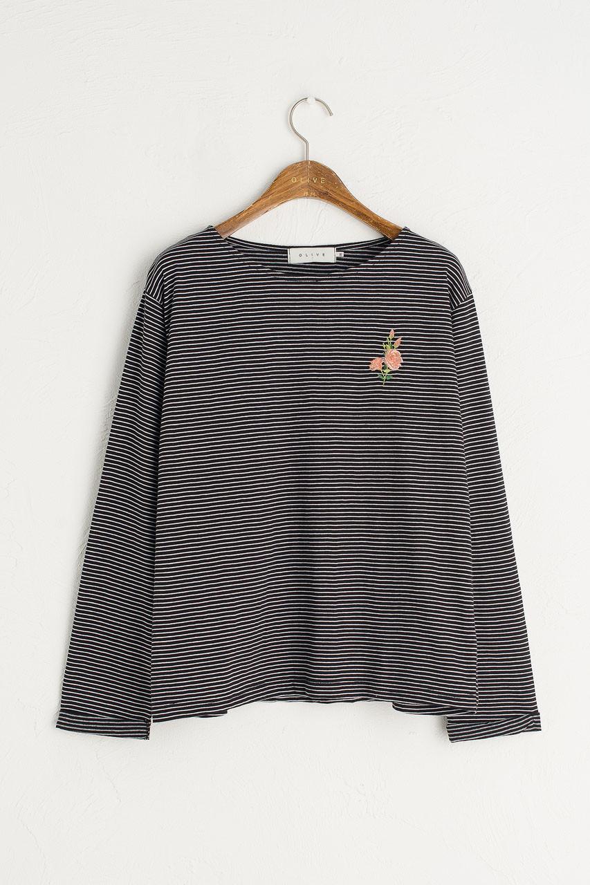 Rose Embroidery Stripe Tee, Black
