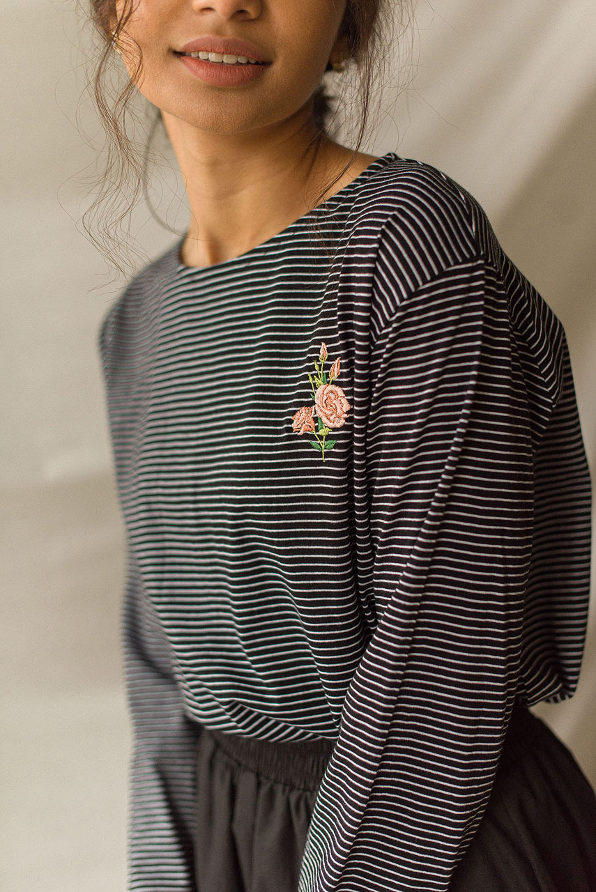 Rose Embroidery Stripe Tee, Black