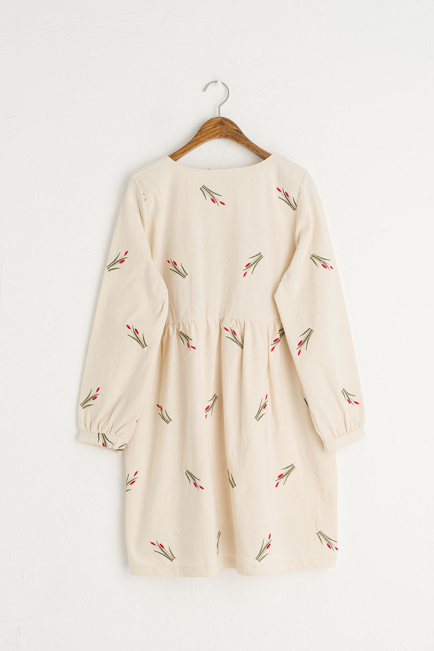 Tulip Embroidered Dress, Ivory