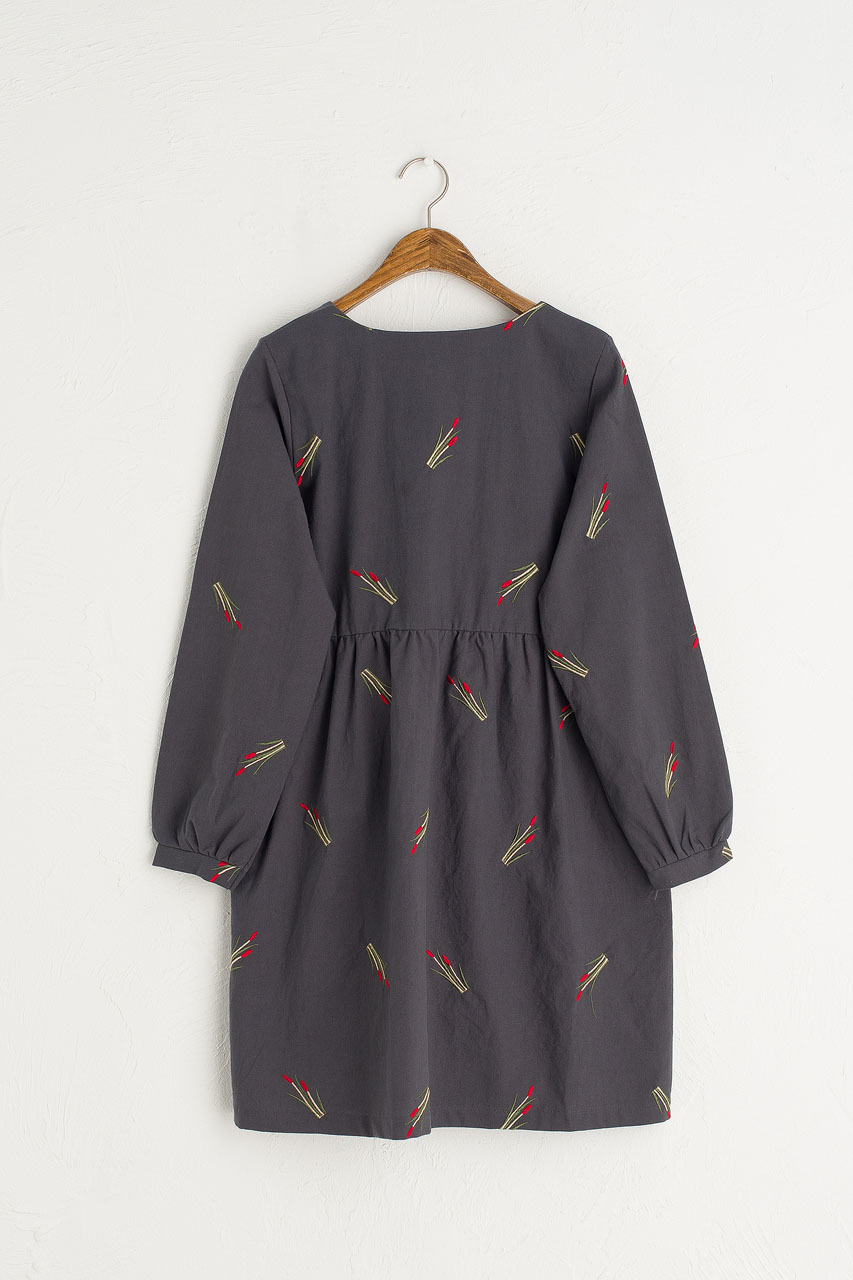 Tulip Embroidered Dress, Navy