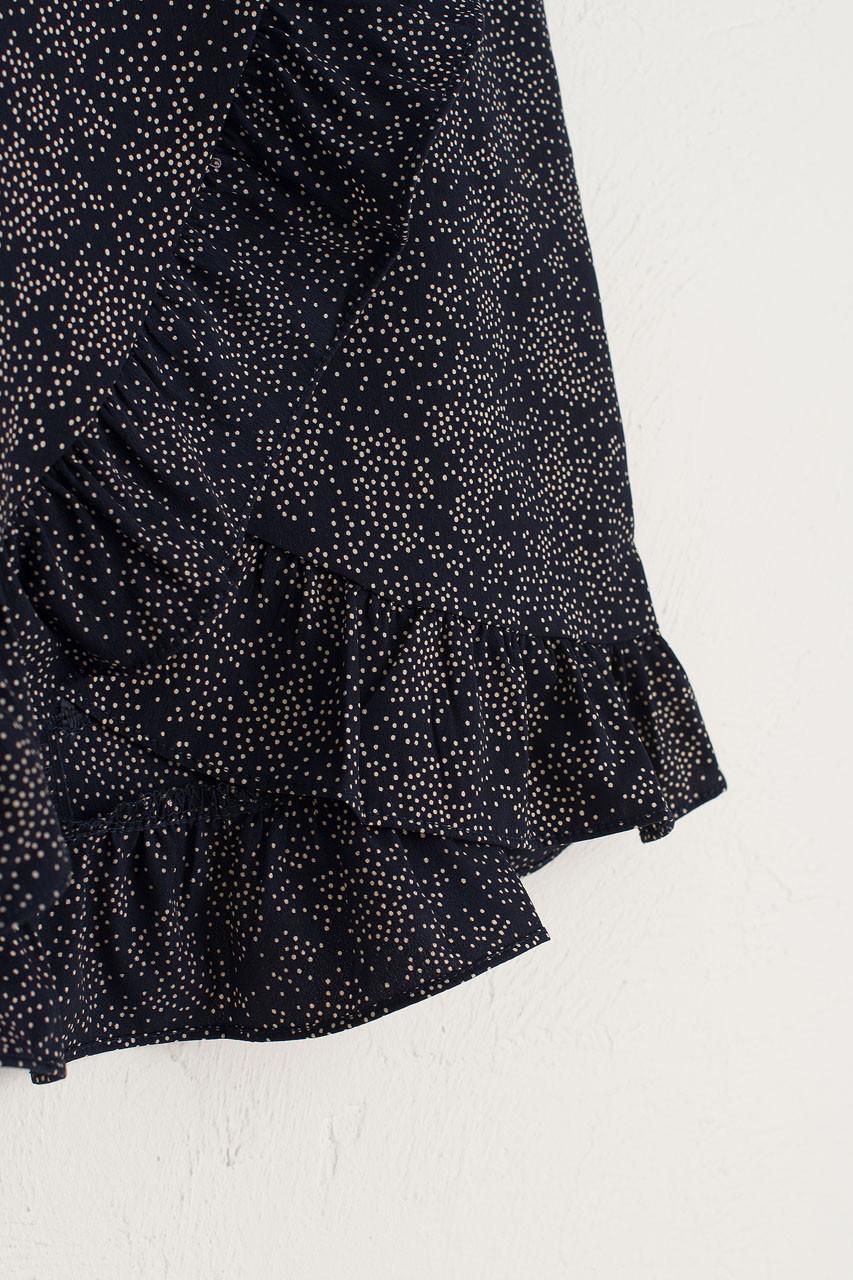 Frill Wrap Dot Skirt, Black