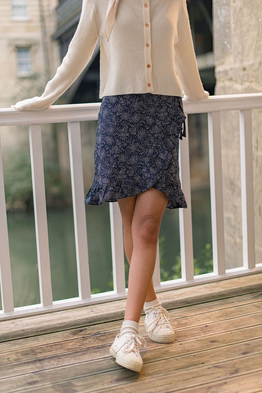 Frill Wrap Dot Skirt, Navy