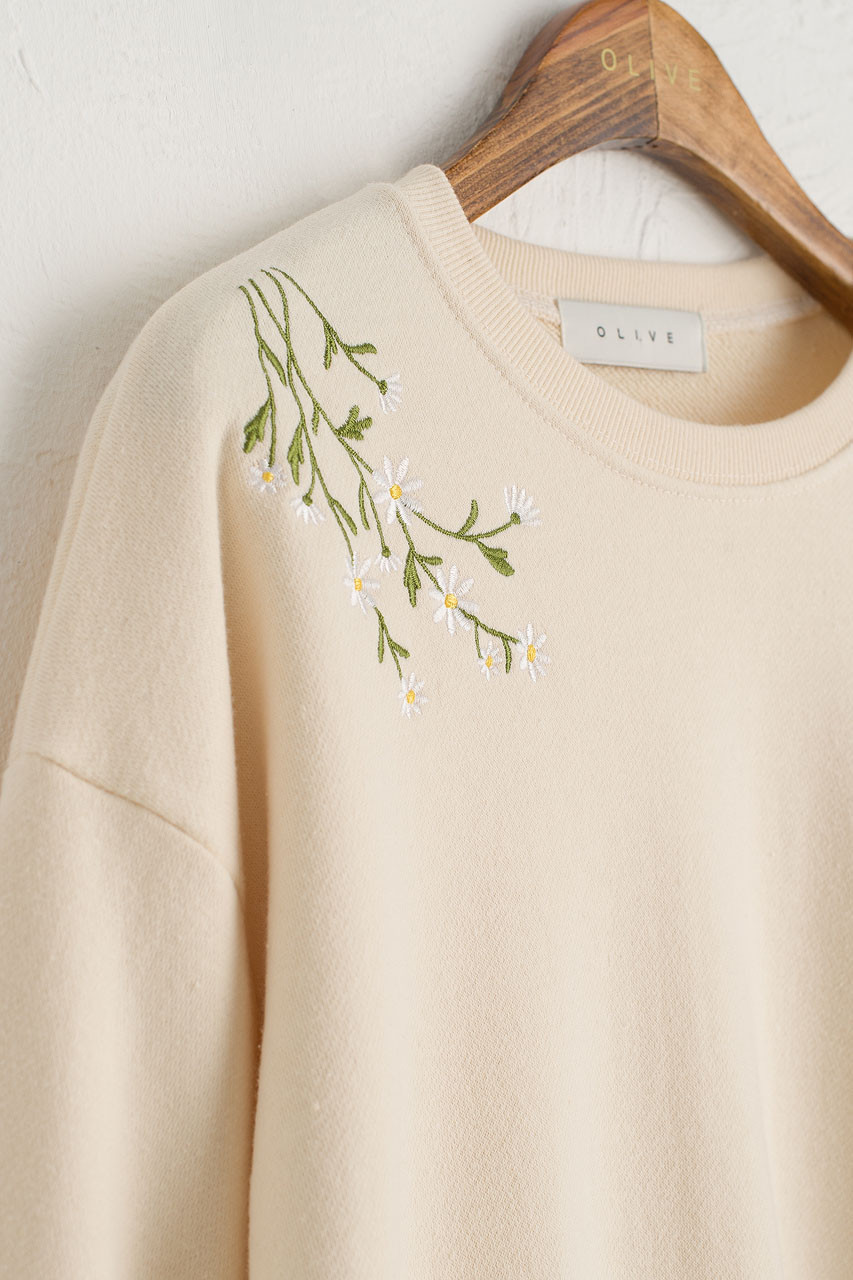 Dandelion Embroidered Lace Sleeve Sweatshirt, Ivory