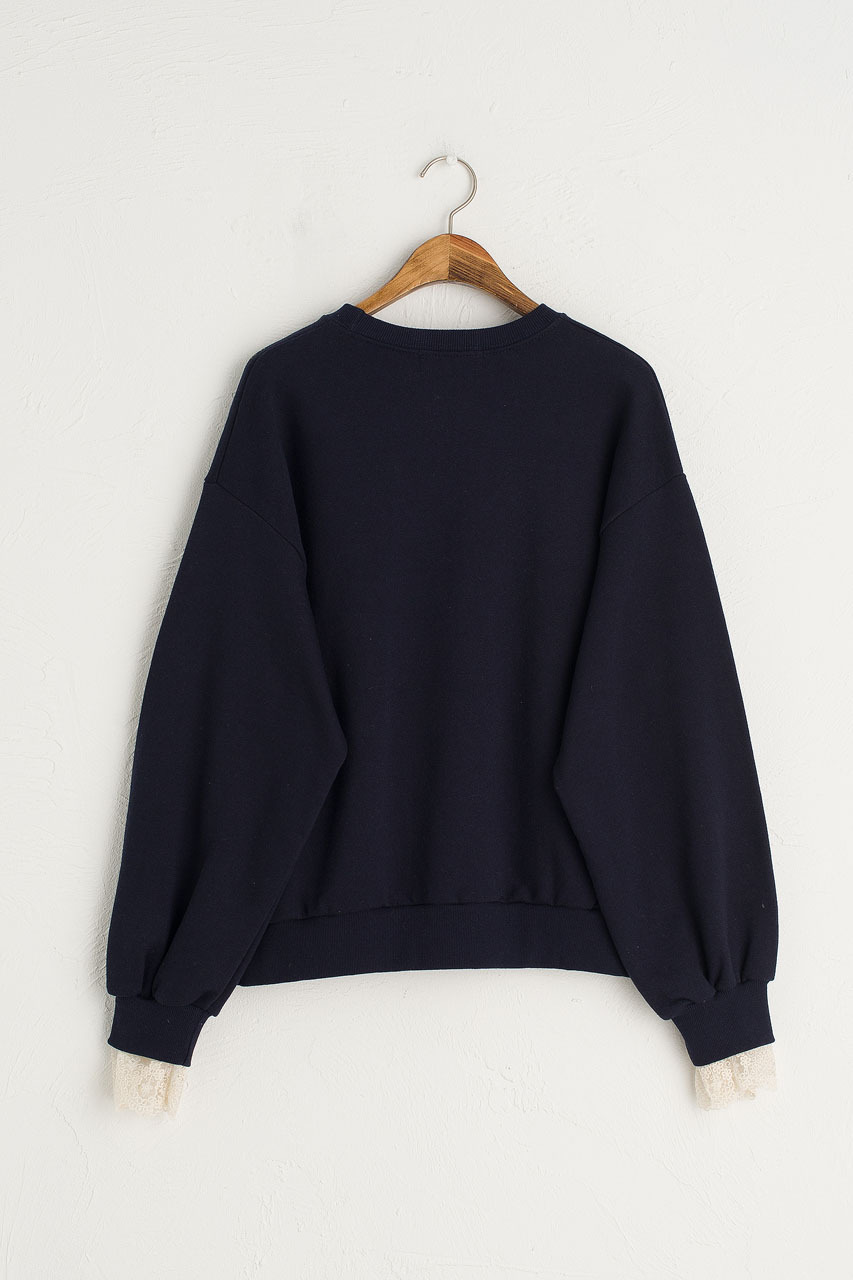 Dandelion Embroidered Lace Sleeve Sweatshirt, Navy