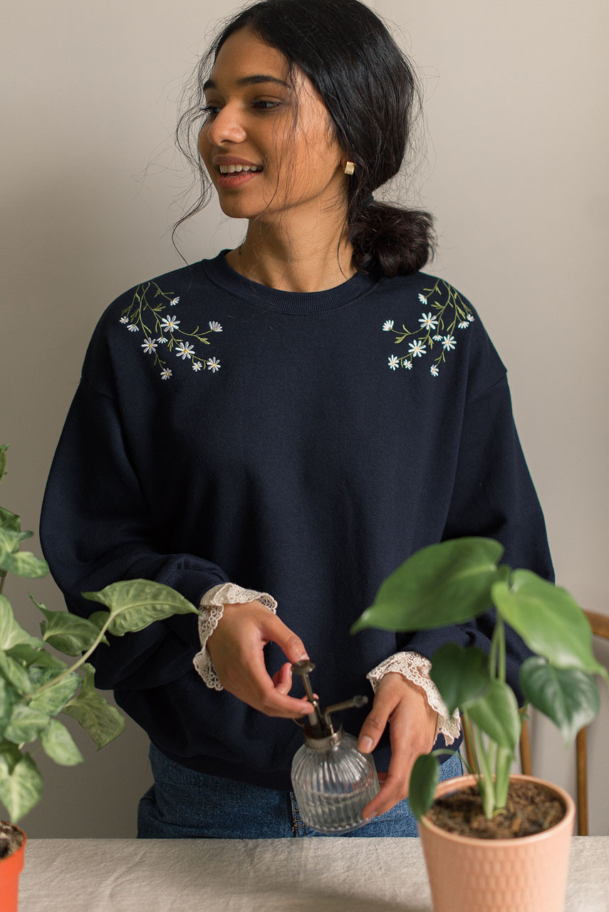 Daisy Embroidered Lace Sleeve Sweatshirt, Navy