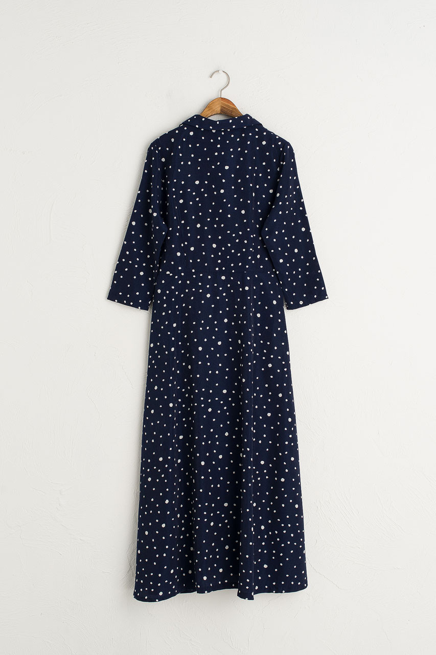 Notched  Collar Long Dress, Navy