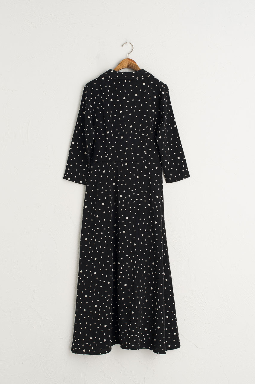 Notched  Collar Long Dress, Black