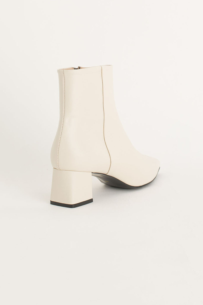 Mid Heel Ankle Boots, Ivory