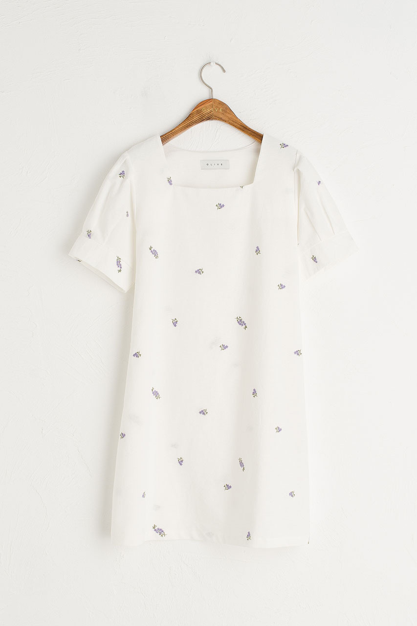 Lavender Embroidered Square Neck Dress, White