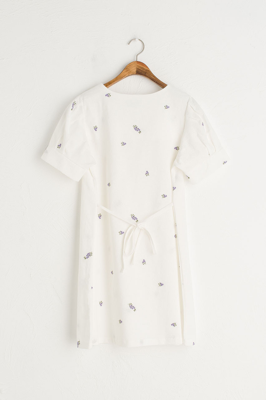 Lavender Embroidered Square Neck Dress, White