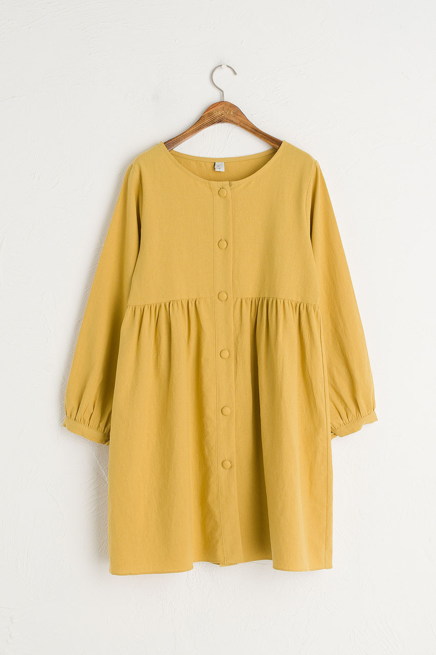 Round Neck Button Front Long Sleeve Babydoll Dress, Mustard