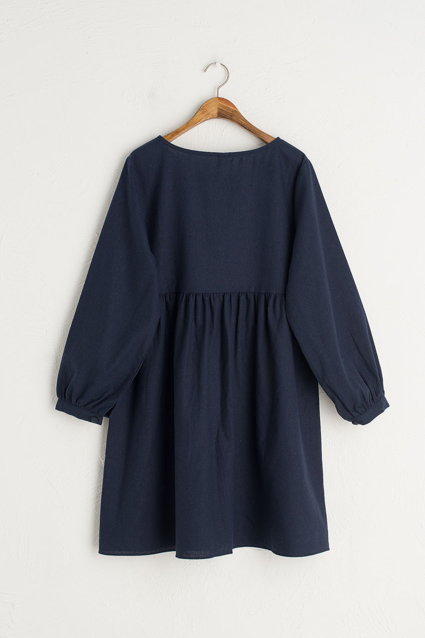 Round Neck Button Front Long Sleeve Babydoll Dress, Navy