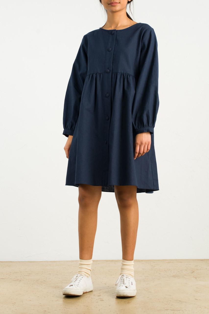 Long Sleeve Babydoll Dress, Navy
