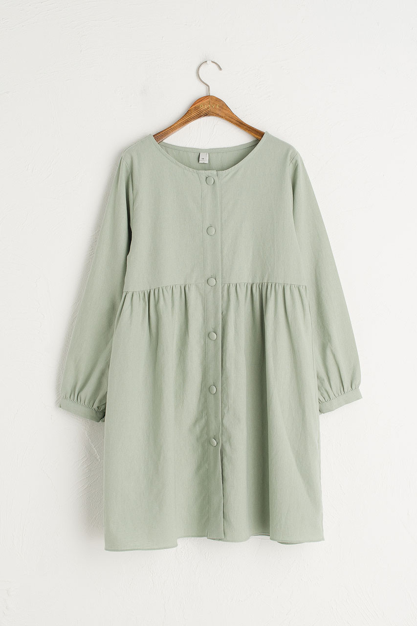 Round Neck Button Front Long Sleeve Babydoll Dress, Mint