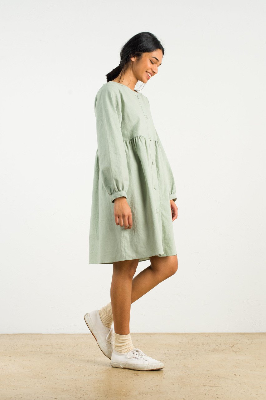 Long Sleeve Babydoll Dress, Mint