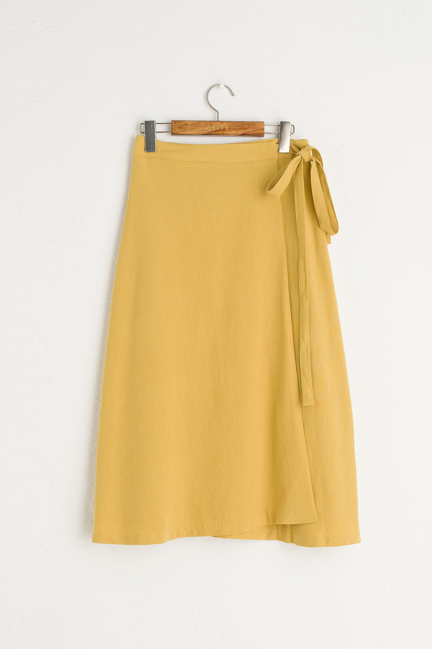 Ribbon Side Wrap Mid Length Skirt, Mustard