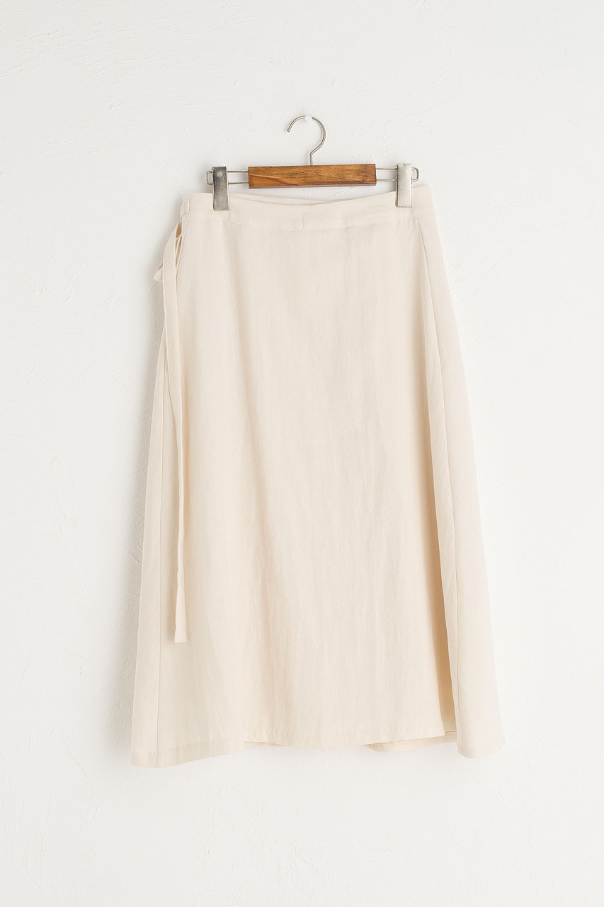 Ribbon Side Wrap Mid Length Skirt, Ivory
