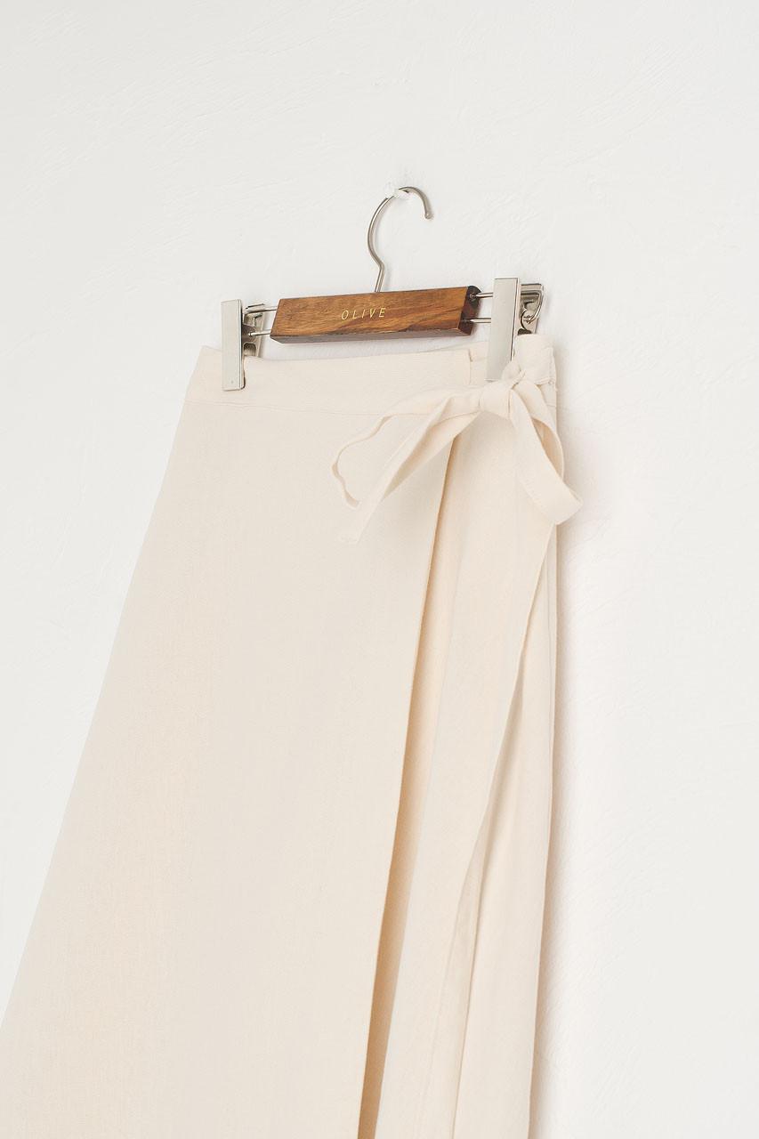 Ribbon Side Wrap Mid Length Skirt, Ivory