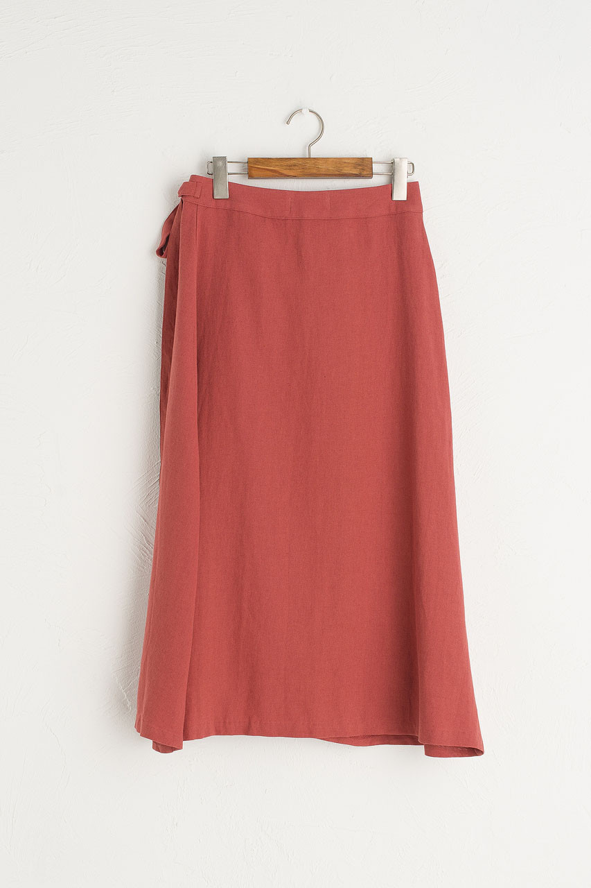 Ribbon Side Wrap Mid Length Skirt, Brick