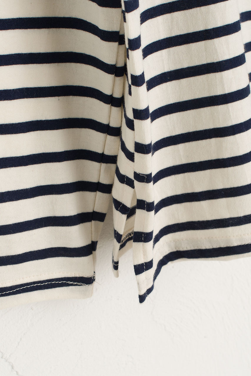 Toy Square Neck Stripe Tee, Navy