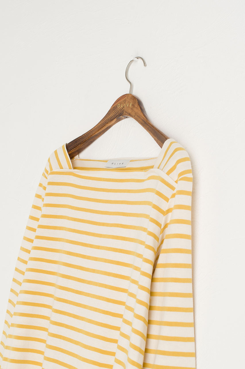 Toy Square Neck Stripe Tee, Mustard