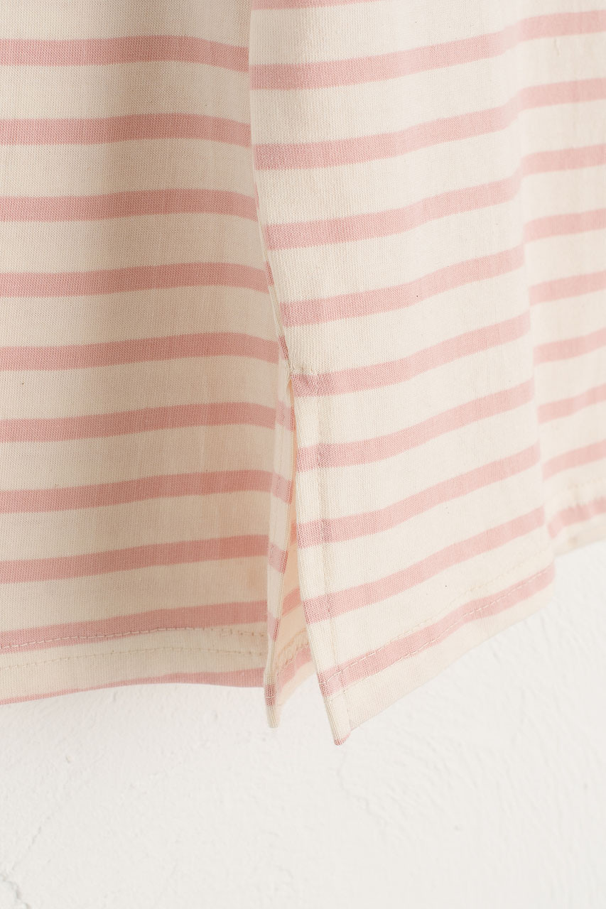 Toy Square Neck Stripe Tee, Pink