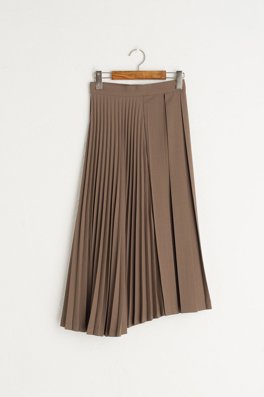 Unbalance Pleated Mid Length Skirt, Brown