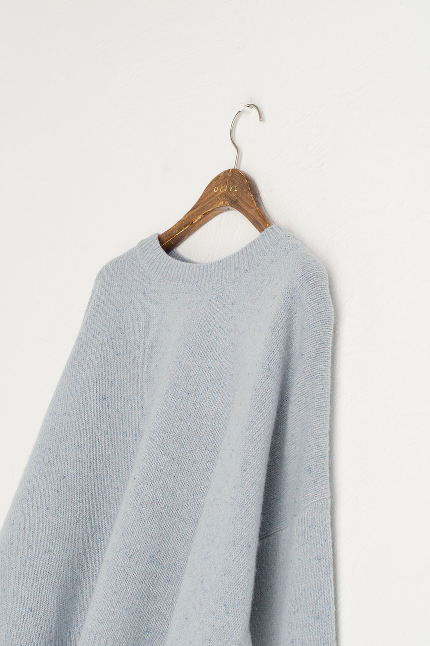 Boucle Round Neck Jumper, Light Blue