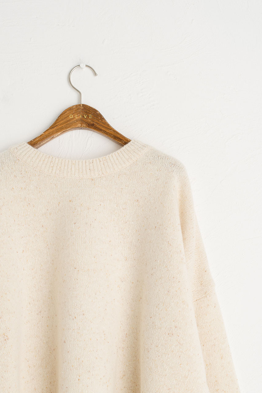 Boucle Round Neck Jumper, Oatmeal