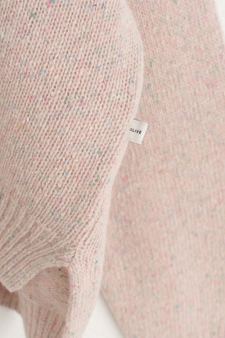 Boucle Round Neck Jumper, Light Pink