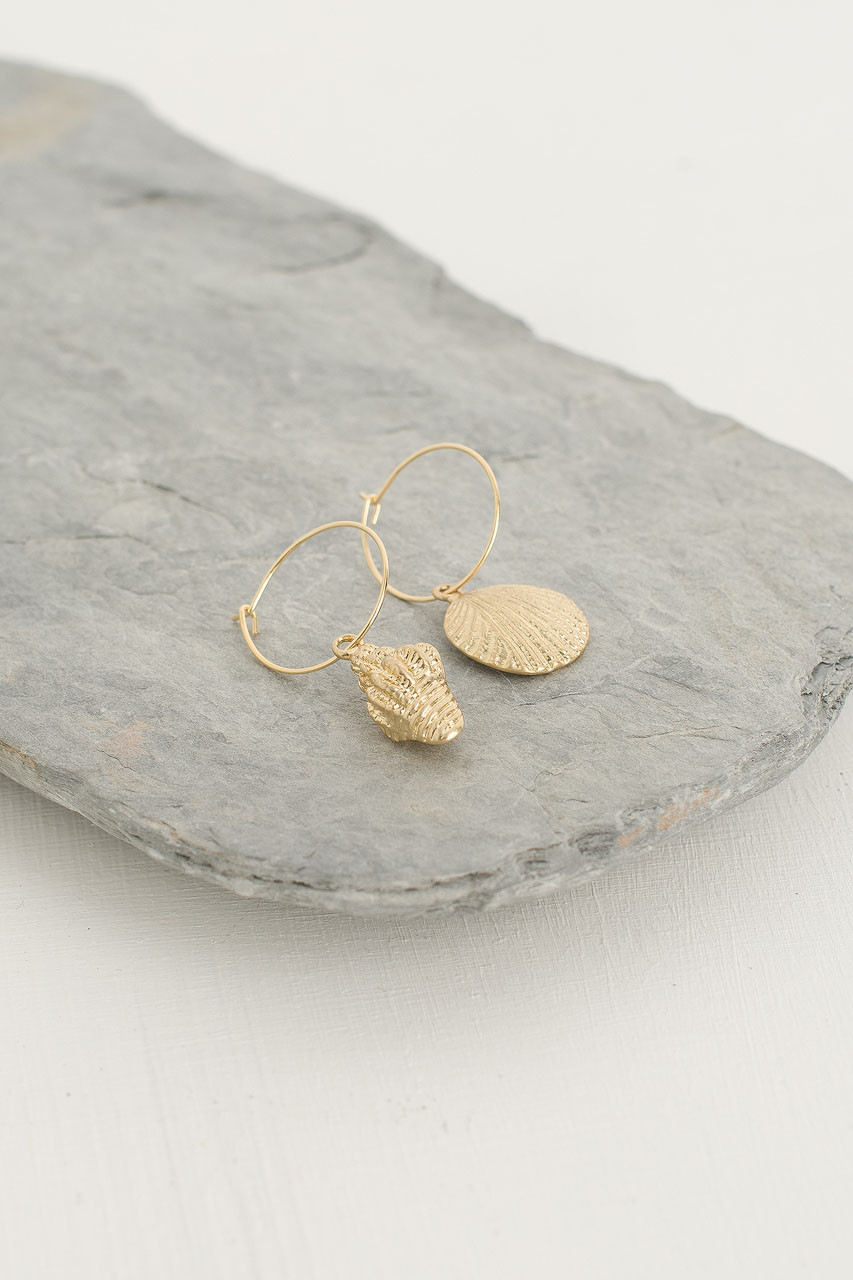 Double Shell Hoop Earrings, Gold Plated