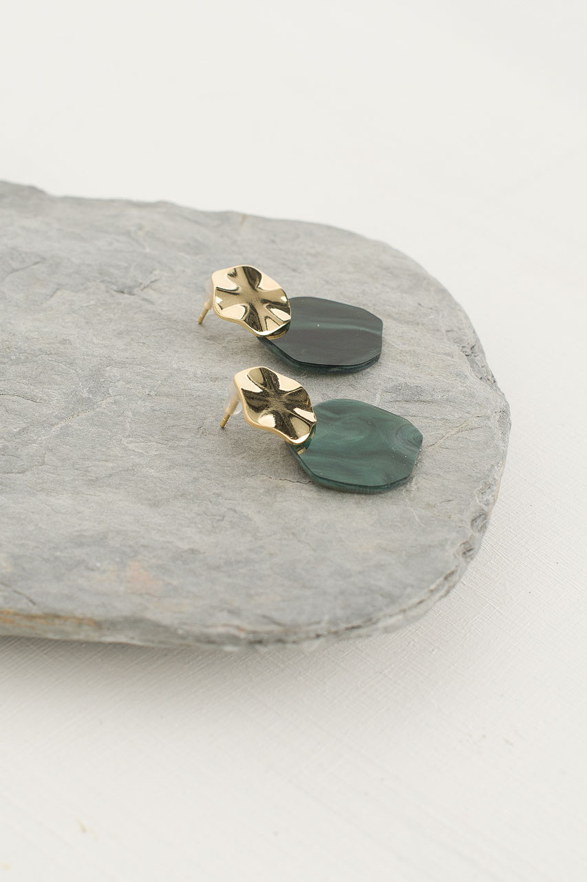 Stacey Earring, Gold Plated/Green