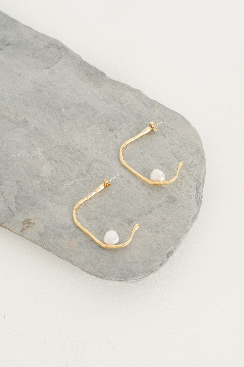 Pearl Hoop Earrings, Gold Plated